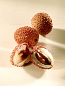 Halved lychee with stone in front of two lychees