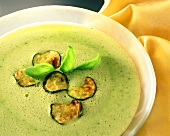 Courgette foam soup with fried courgette slices