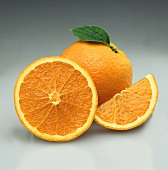 Oranges: whole, half and orange segment