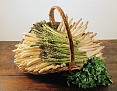 White and green asparagus in a basket, with parsley in front