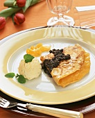 Apricot pancake with poppy seed sauce & vanilla ice cream