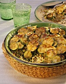 Courgette bake with green rye in baking dish