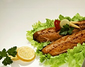 Smoked mackerel on salad leaves