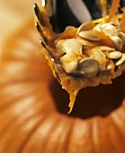 Pumpkin seeds on ladle above hollowed-out giant pumpkin