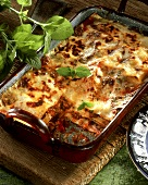 Lamb lasagne with mascarpone in baking dish