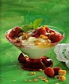 Crema di ricotta ai lamponi (ricotta cream with raspberries)