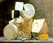 Assorted Types of Cheese, Stacked