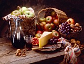 Rustic Still Life with Cheese, Fruit, Nuts and Red Wine