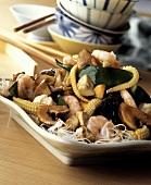 Cellophane Noodles with Shrimp, Mushrooms and Vegetables