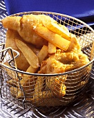 Fish and Chips in Frying Basket