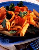 Penne alla vesuviana (Penne with tomato & vegetable sauce)