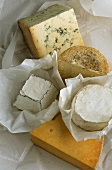Various English Cheeses on White Paper