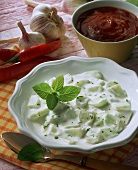 Raita (cucumber salad with yoghurt); Barbecue sauce