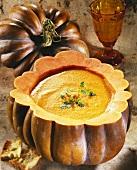 Pumpkin soup in a hollowed out pumpkin