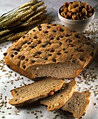 Rye bread with nuts, almonds & raisins; décor: ears of corn