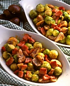 Brussels sprouts with bacon and sweet chestnuts