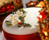 Christmas cake, decorated with marzipan flowers