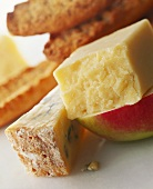 Cheddar and Stilton cheese with apple and bread
