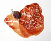 Italian air-dried ham and salami with fresh fig