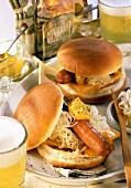 Sauerkraut hot dog with mustard and cheese; beer