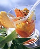 Balsamic muesli with grapefruit, pineapple, pollen in jar