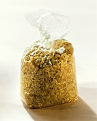 Bulgur wheat in a plastic bag