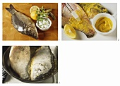 Preparing fried carp (spreading with mustard; frying)