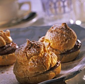 Cream puff with chocolate filling