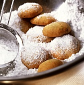 Chocolate and ginger biscuits in icing sugar