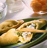 Russian pasties with salmon and cabbage filling