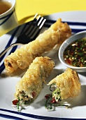 Spring roll with turkey, with sweet and sour sauce