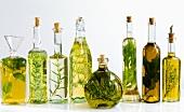 Various herb oils in bottles
