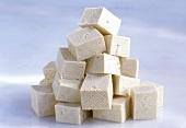 Cubes of tofu in a heap