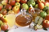 Apple vinegar, many apples, honey jar & apple blossom