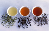 Kukicha tea (Japan), Oolong tea (China) and Assam tea (India)