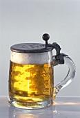 Light beer in Bavarian beer tankard