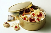 Assorted Christmas biscuits in biscuit tin