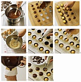 Making mocha cream chocolates