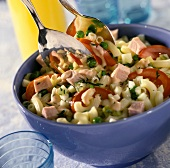 Crescent pasta salad with smoked pork rib, peas and tomatoes