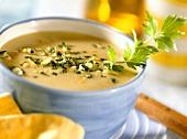 Cream of potato soup with gremolata and parsley