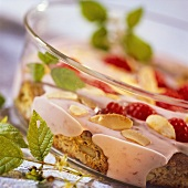 Raspberry mascarpone with almond biscuits