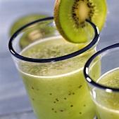 Kiwi Sauer im Glas mit Kiwischeibe am Glasrand