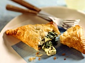 Sheep's cheese parcels with spinach on plate