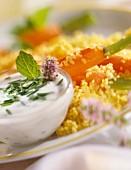 Bulgur wheat and carrots with herb yoghurt