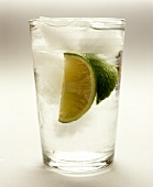 Gin and tonic with lime wedges and ice cubes in glass