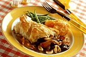 Mushrooms in puff pastry with green beans & sweet potato puree
