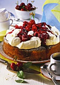 Cherry quark cake with icing sugar