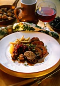 Venison roulade with chestnut & plum stuffing & potato noodles