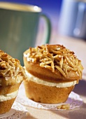"""""""Bee sting"""" muffins with chopped almonds"""