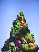 Vegetable mountain with fresh fruit